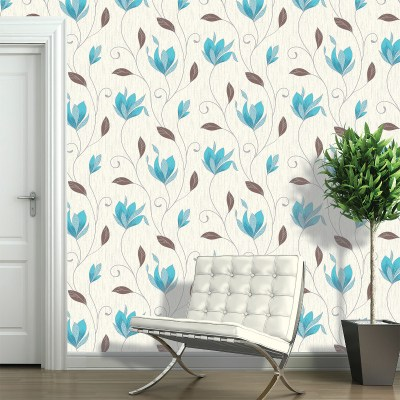 Vymura Synergy Glitter Floral Wallpaper - Teal and Silver