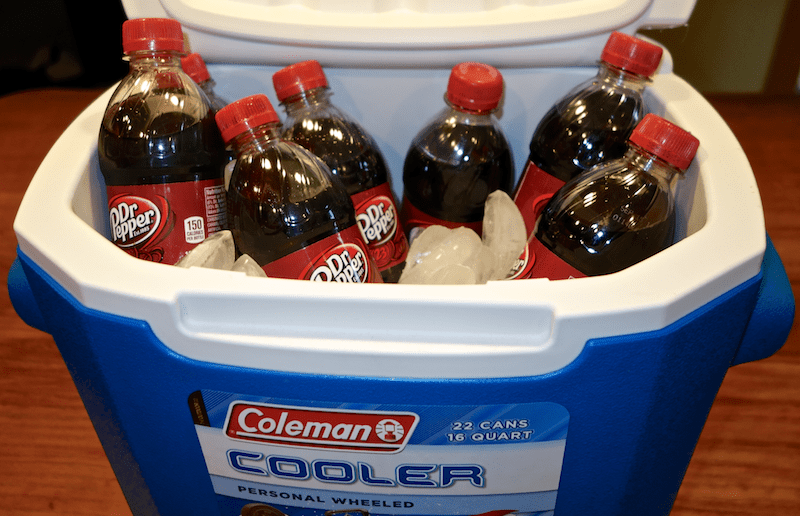 coleman cooler full of dr pepper