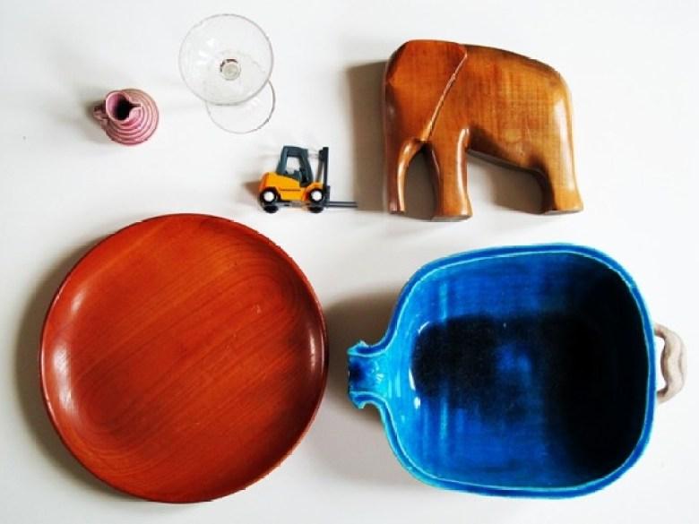 Flohmarkt, Holzschale, Holz, Elefant, Balsaholz, 60er, 60s, Sixties, Sechziger, Keramik, Schale, Handarbeit, Rarität, Blau, Türkis