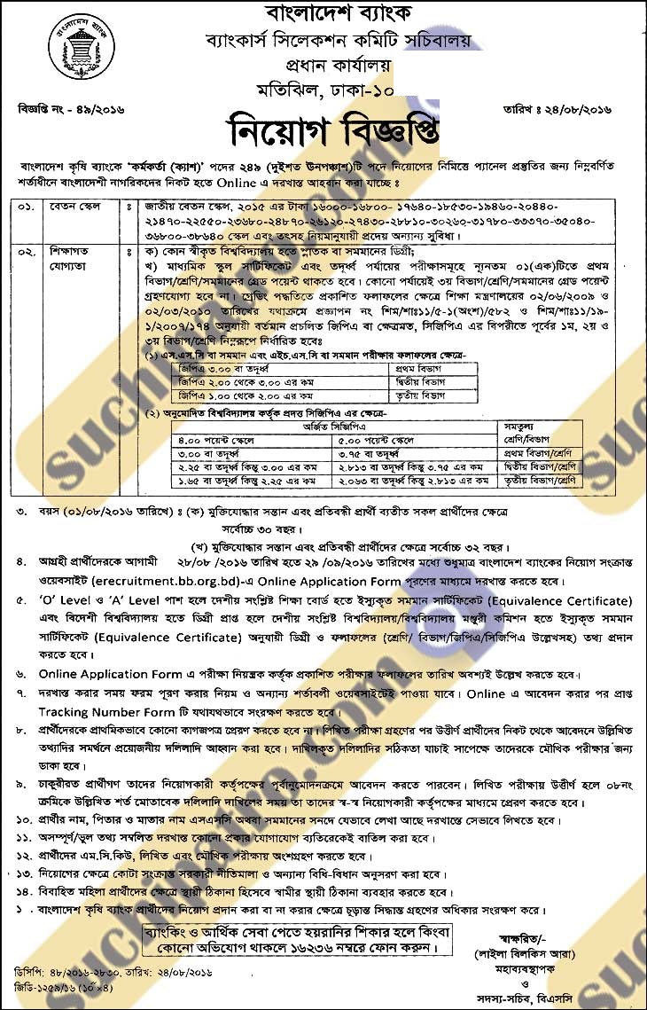 Krishi Bank Officer Cash Job Circular 2016