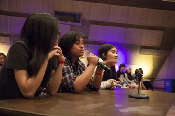 Judges (from left to right) Francesca Cortez, Isabella Thompson and Cynthia Tu provide feedback to one of the acts during the Student Talent Showcase in Jack Adams Hall Thursday, Oct. 29, 2014. Martin Bustamante/Xpress.