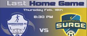 MASL South: Sacramento Surge at Brownsville Barracudas Feb 18th, 2016