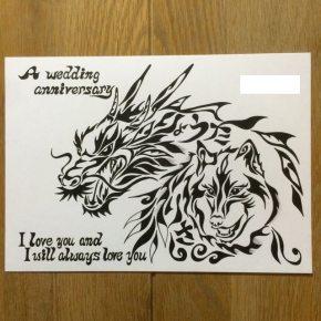 結婚記念に模様に名前の入った世界で一つの絵を!ご夫婦が好きな龍と狼をモチーフにした記念の絵