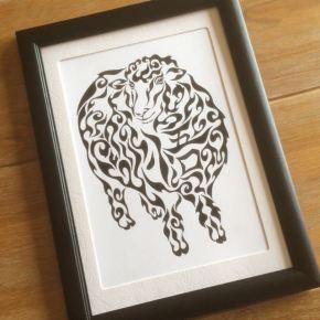 お父さんへの贈り物に!名前が入った羊がモチーフの模様で描く絵のプレゼント