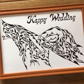 ご結婚のお祝いや記念に!名前が入った新郎新婦(夫婦)が指輪をはめる手の絵の贈り物