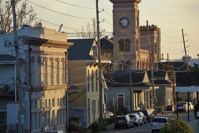 Sunset on Algiers Point and the old Algiers Courthouse, one of many historic buildings in New Orleans' second oldest neighborhood