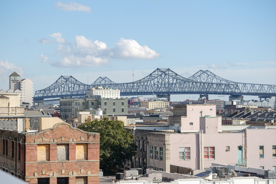 From the roof of the Park building or the Rouse's parking garage, you can get a good view of the Greater New Orleans and Crescent City Connection bridges, and the downtown skyline.