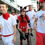 "A Rollergirl chases down some ""bulls"" at San Fermin en Nueva Orleans. (Photo: Cheryl Gerber)"