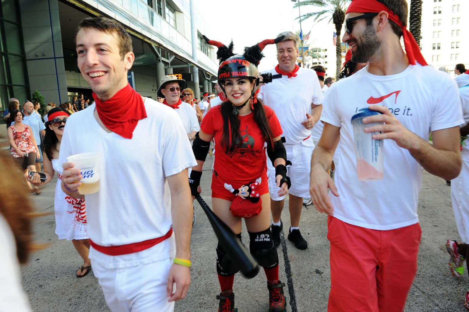 """A Rollergirl chases down some """"bulls"""" at San Fermin en Nueva Orleans. (Photo: Cheryl Gerber)"""