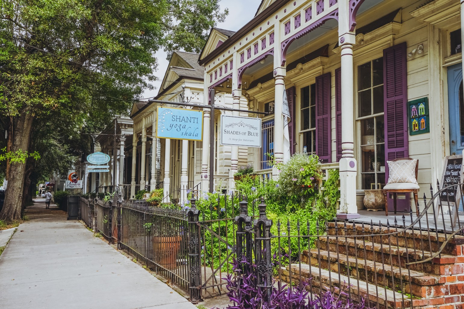 While enjoying all this shopping and food on Magazine Street, take a look at the architecture! Rows of shotguns (some still residences, many converted into retail), brick and stucco corner stores with balconies, and enjoy the shade of monumental live oak trees that give Magazine Street its character and continuity throughout the many miles and neighborhoods it encompasses.