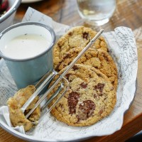 The dessert that has everyone talking about Willa Jean, and yes, it's okay to lick the beater: Cookies and Milk -- ooey-gooey barely set and still warm chocolate chip cookies, cookie dough batter, and vanilla-infused milk. (Photo: Paul Broussard)