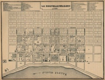 French map of New Orleans, 1728.