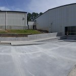 Panoramic photo of front parking lot area