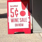image of bevmo 5 cent sale sign