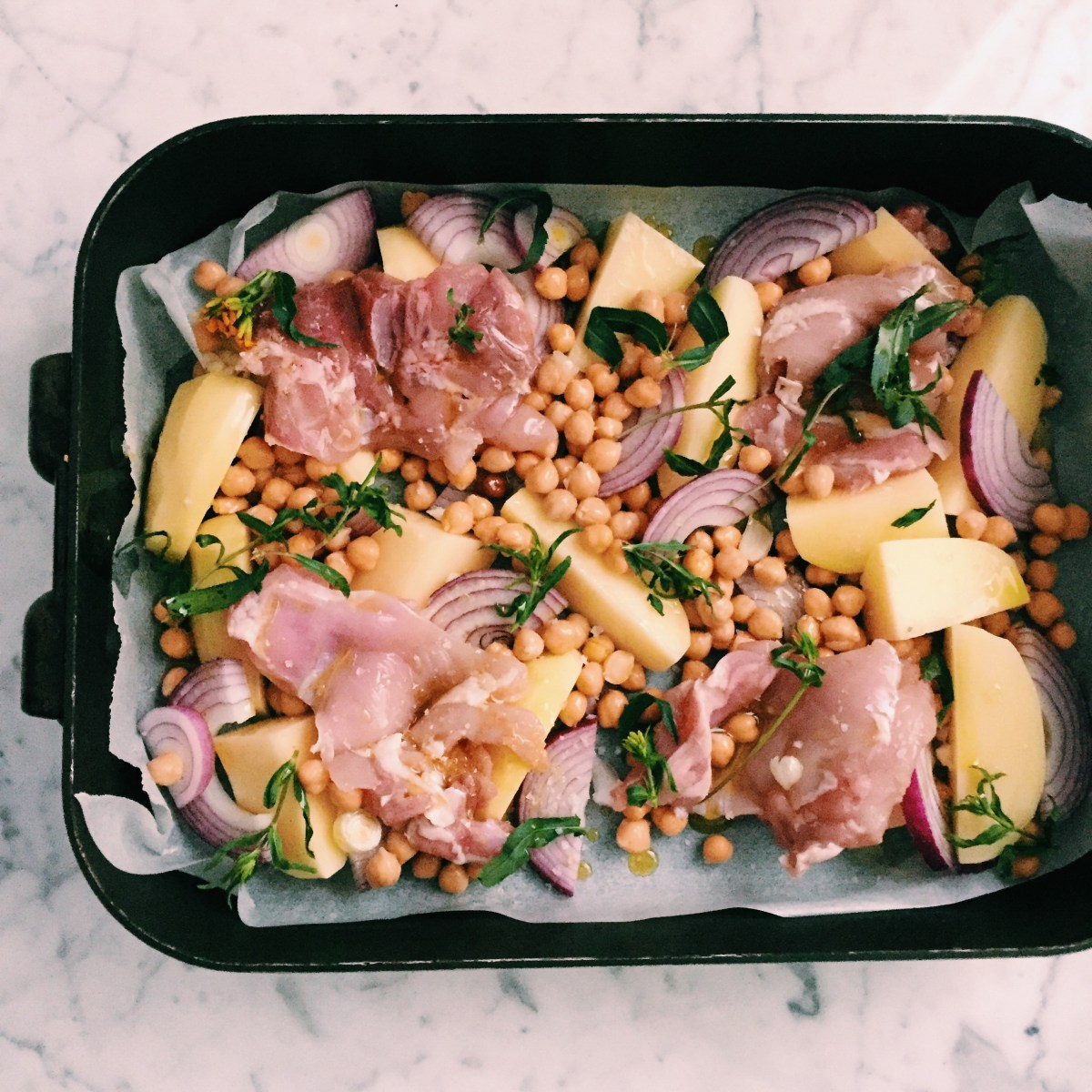 Recipe: Chicken and chick pea 'sheet-pan' dinner