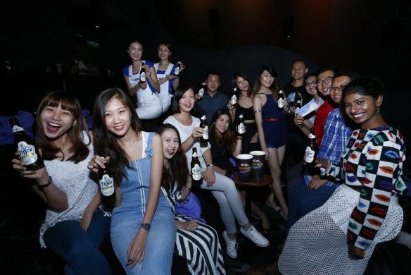 All winners with Selene Ong, Tiger Beer's brand manager (front row, 4th from left) before the screening of movie