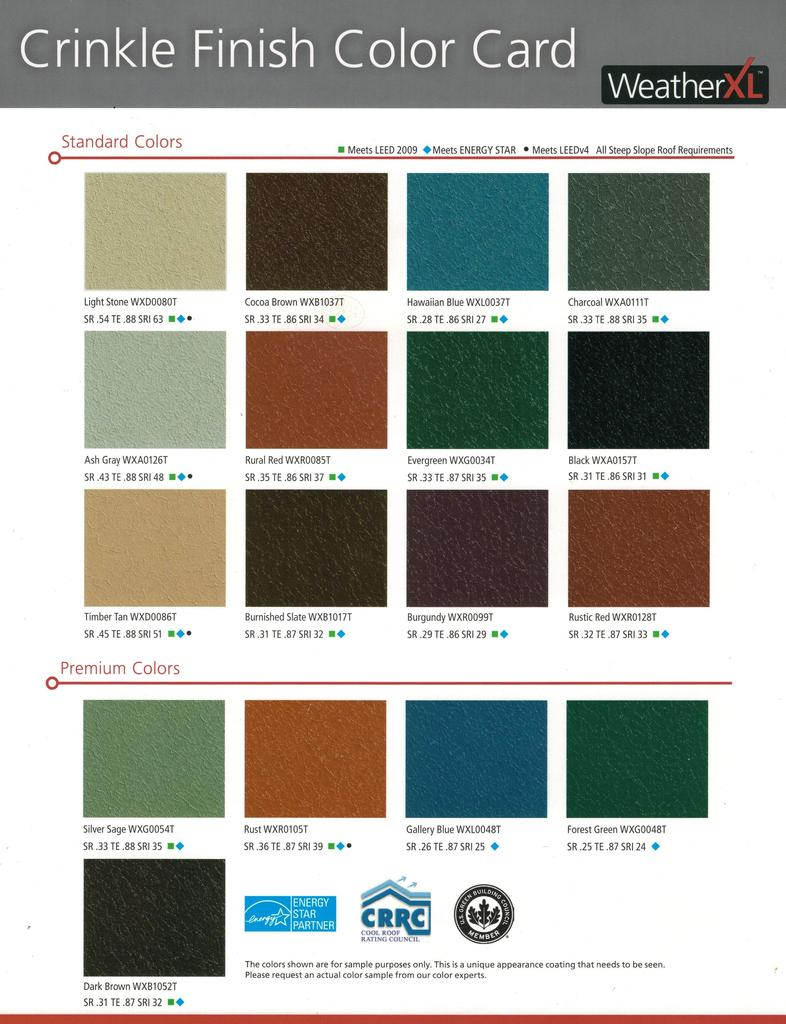 Valspar WeatherXL Crinkle Finish Color Chart