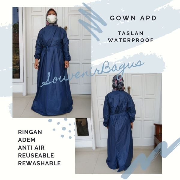 Gown APD Medis Perawat Klinik Waterproof anti air taslan