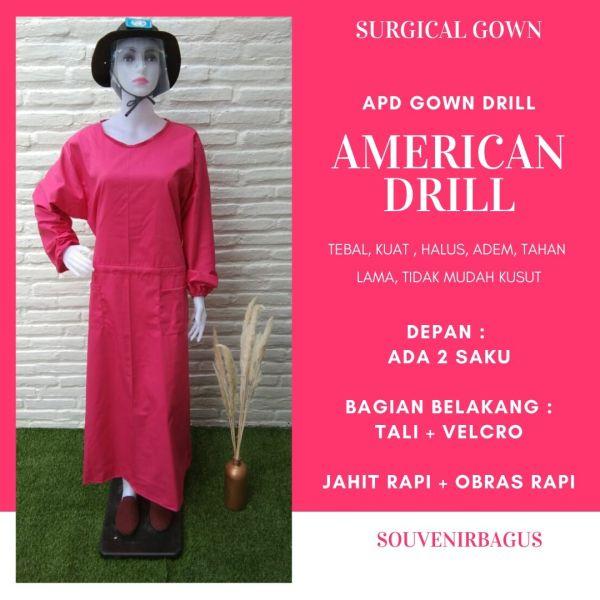 APD Gown Drill Pink Fuchia