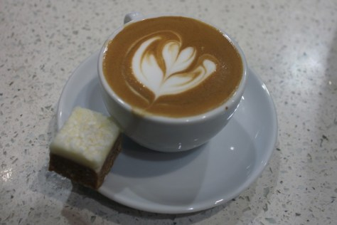 Velvet Cortado and Lemon Square