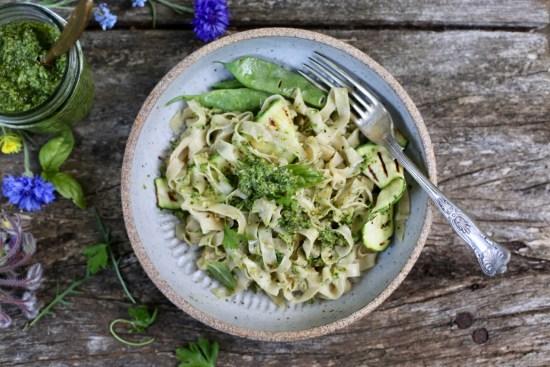 homemade pasta with pesto - 1