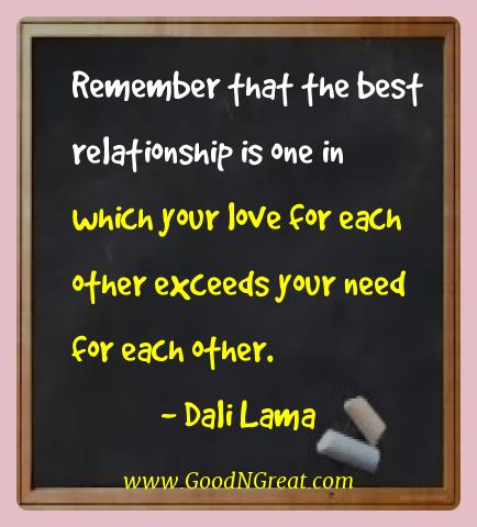 Dali Lama Best Quotes  - Remember that the best relationship is one in which your