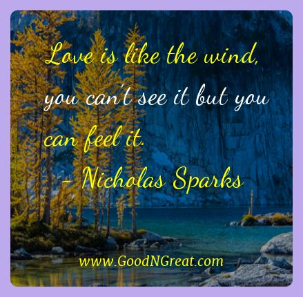 Nicholas Sparks Best Quotes  - Love is like the wind, you can't see it but you can feel