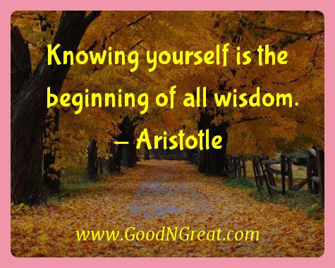 Aristotle Inspirational Quotes  - Knowing yourself is the beginning of all