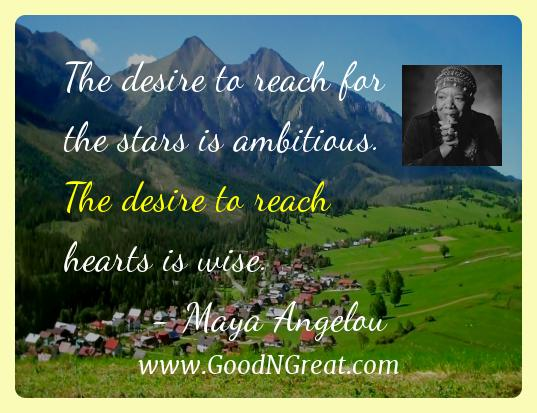 Maya Angelou Inspirational Quotes  - The desire to reach for the stars is ambitious. The desire