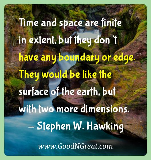 Stephen W. Hawking Inspirational Quotes  - Time and space are finite in extent, but they don't have