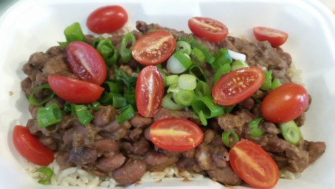Vegan red beans* on a bed of rice* w/ veggies.*