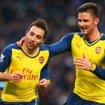 Santi Cazorla celebrates Arsenal's second goal against Man City with hilarious dance