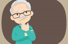 Thinking oldman looking up on empty or blank.Man thinks about problem.Thoughtful people understand the problem. Pensive grandfather find successful solution.grandparents standing thinking.
