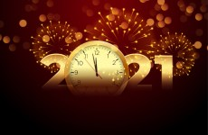 2021 happy new year with clock and firework background