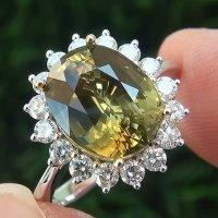A Gorgeous GIA Cert 5.96 Ct Natural VVS Yellow Sapphire Diamond 14k White Yellow Gold Ring