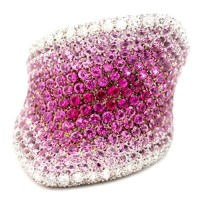 Marvelously Handcrafted PALMIERO Diamond & Pink Sapphire 18k White Gold Right Hand Ring