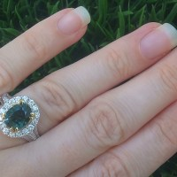 A Gorgeous  GIA 5.42 Ct Unheated Natural VVS Green Sapphire Diamond 18k Gold Engagement Ring