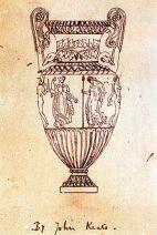 Скалькированный Китсом чертёж гравюры вазы Сосибия