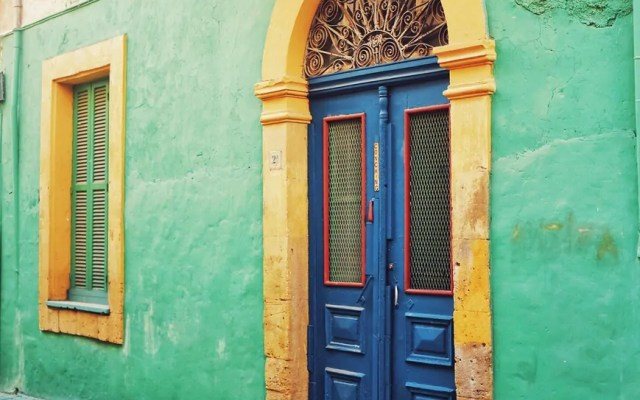 A colorful door in the Old City in Nicosia, Cyprus