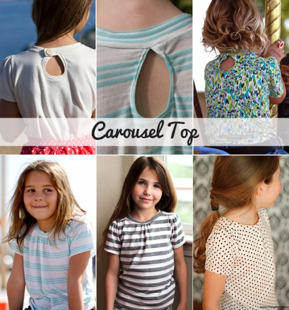 carousel top - knit shirt sewing pattern for girls sizes 12m - 12 years