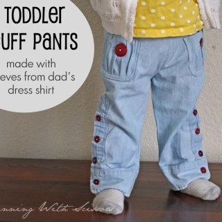 Toddler Pants from Dad's Shirt Sleeves Tutorial