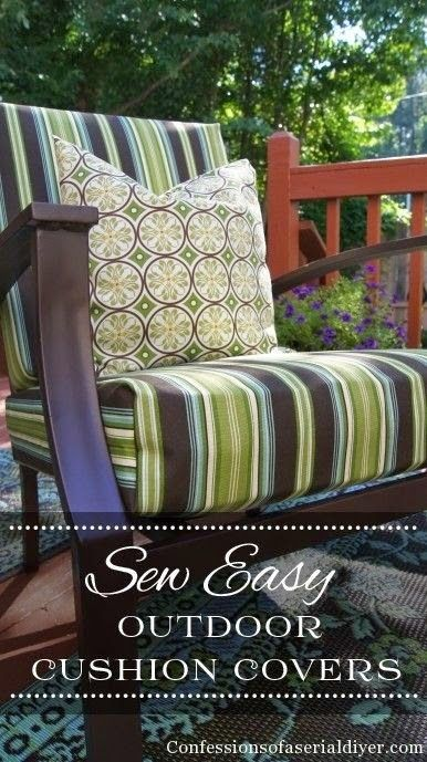 Confessions of a Serial Do-It-Yourselfer shows how simple it is to recover your outside furniture in this Outdoor Cushion Covers Tutorial. -Sewtorial