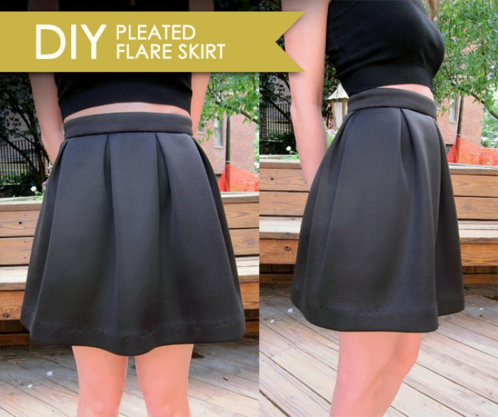 This DIY pleated flare skirt by Joe & Cheryl is high on style, easy to sew and quick to make. -Sewtorial