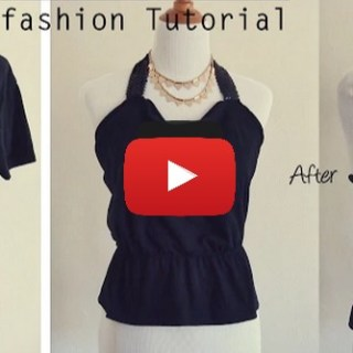 Here's an easy t-shirt to halter video tutorial by Sew in Love. It just takes a simple t-shirt (old or new) and a few basic sewing supplies. -Sewtorial