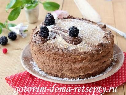 бисквитный торт на белках с кремом из сгущенки