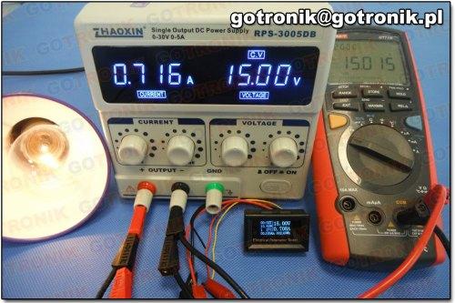 Pomiar napięcia przy 15 V