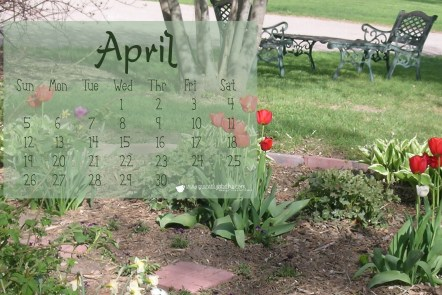 Free April Calendar for Computer Wallpaper by Grace Elizabeth's