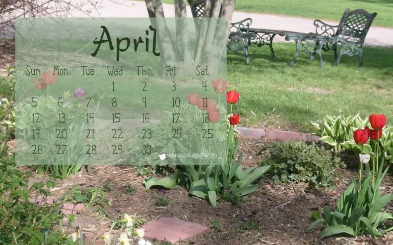 Free April Calendar for Computer Wallpaper by Grace Elizabeth's