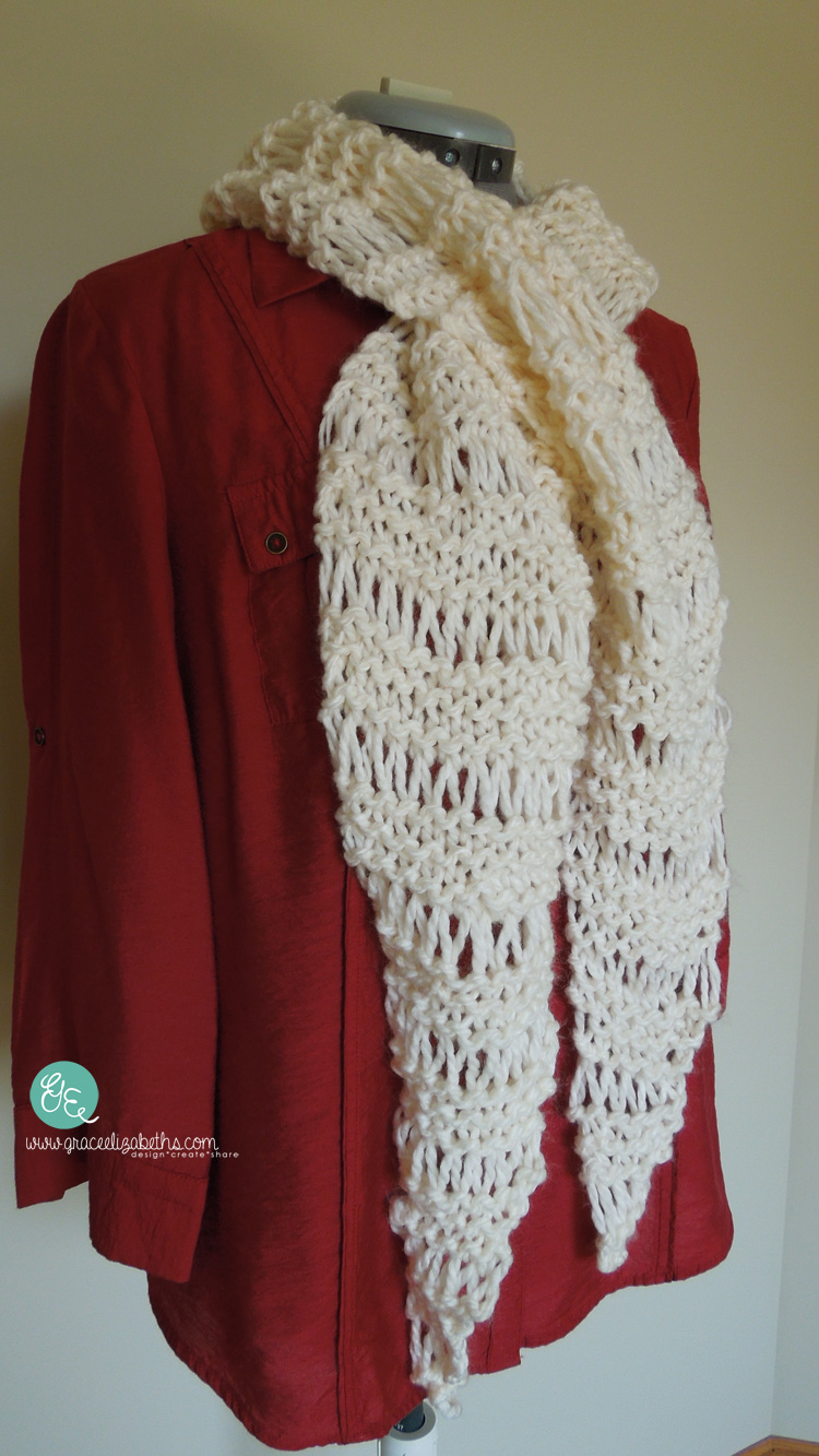 Easy n Quick ladder scarf designed by SonyaKay for Grace Elizabeth's