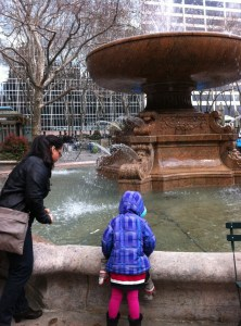 Titi Liz & Miss M at the fountain in Bryant Park